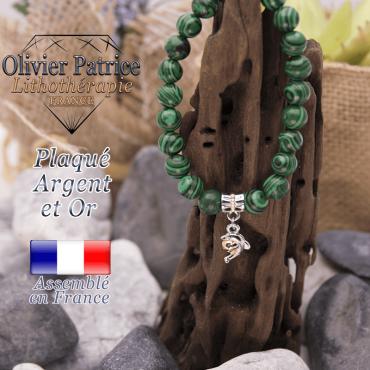 Bracelet malachite charms dauphin plaqué or-argent