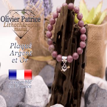 Bracelet lépidolite charms coeur  avec fleche plaqué or-argent