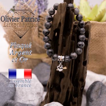 Bracelet larvikite charms coeur avec fleche plaqué or-argent