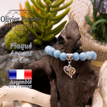 Bracelet larimar charms coeur plaqué or-argent