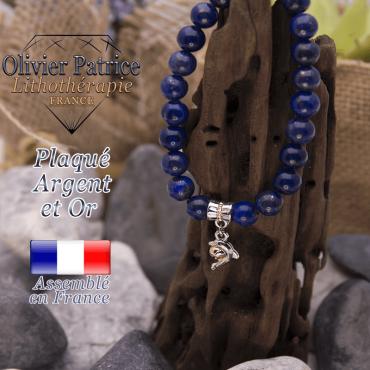 Bracelet lapis lazuli charms dauphin plaqué or-argent