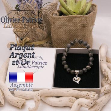Bracelet jaspe zèbre vert charms coeur plaqué or-argent