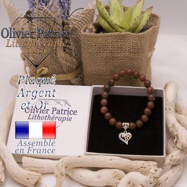 Bracelet jaspe rouge charms coeur plaqué or-argent