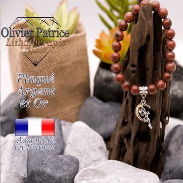 Bracelet jaspe rouge charms fée plaqué or-argent