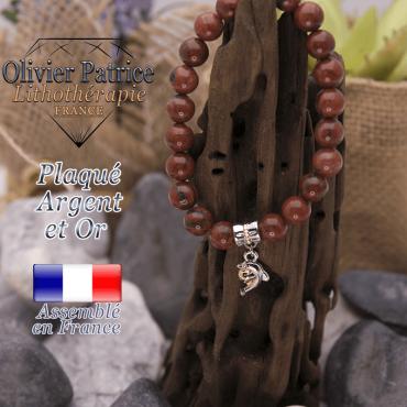 Bracelet jaspe rouge charms dauphin plaqué or-argent
