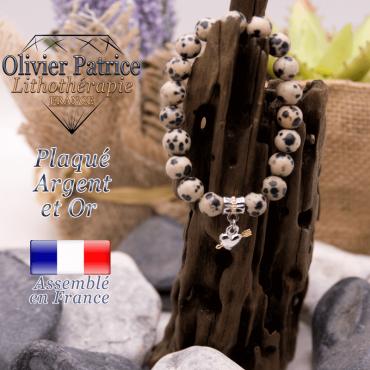 Bracelet jaspe dalmatien charms coeur avec fleche plaqué or-argent