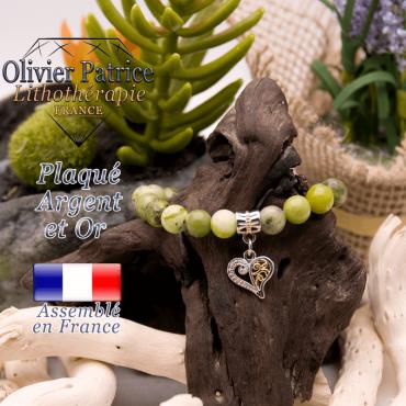 Bracelet jade néphrite du Canada charms coeur plaqué or-argent