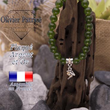 Bracelet jade de Taiwan charms  dauphin plaqué or-argent