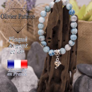Bracelet hémimorphite charms dauphin plaqué or-argent