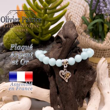 Bracelet jade bleu avec charms coeur plaqué or-argent