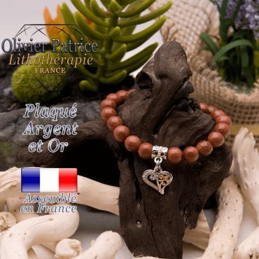 Bracelet goldstone charms coeur plaqué or-argent