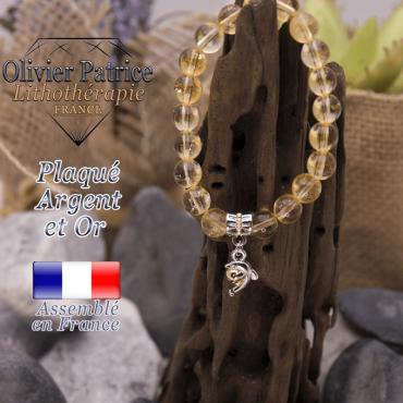 Bracelet citrine charms dauphin plaqué or-argent