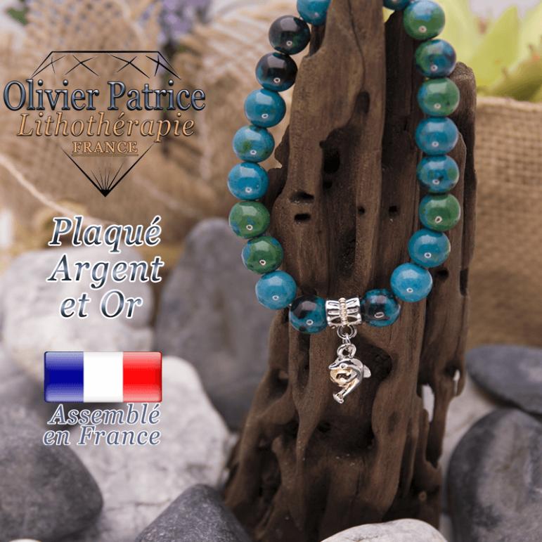 Bracelet chrysocolle charms dauphin plaqué or-argent