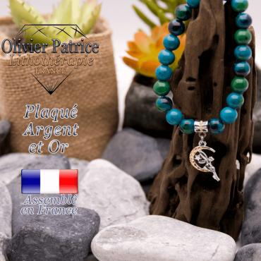Bracelet chrysocolle charms fée  plaqué or-argent