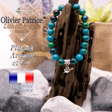 Bracelet chrysocolle charms coeur avec fleche plaqué or-argent