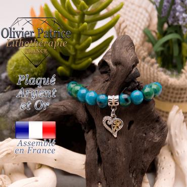Bracelet chrysocolle charms coeur plaqué or-argent