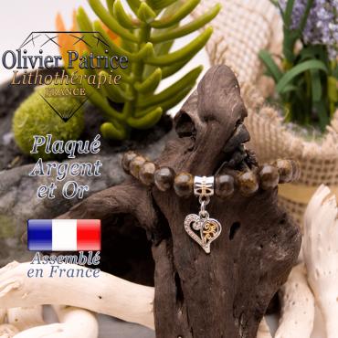 Bracelet bronzite charms coeur plaqué or-argent