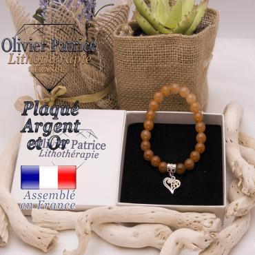 Bracelet aventurine orange charms coeur plaqué or-argent