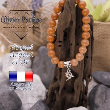 Bracelet aventurine orange charms dauphin plaqué or-argent