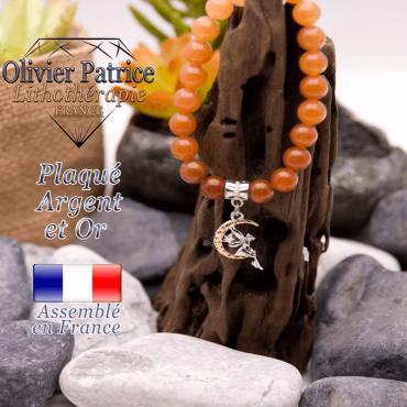 Bracelet aventurine orange charms fée plaqué or-argent