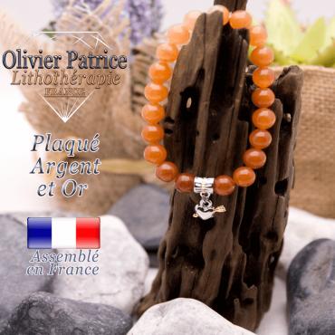 Bracelet aventurine orange charms coeur avec fleche plaqué or-argent