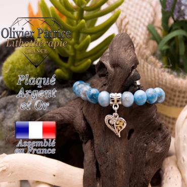Bracelet apatite charms coeur plaqué or-argent