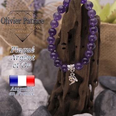 Bracelet améthyste charms dauphin plaqué or-argent