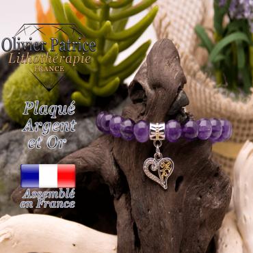 Bracelet améthyste charms coeur plaqué or-argent