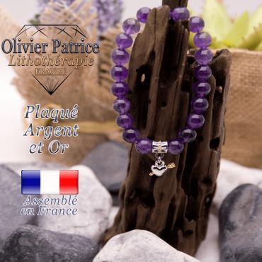 Bracelet améthyste charms cœur avec fleche plaqué or-argent