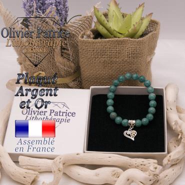 Bracelet amazonite russe charms coeur plaqué or-argent