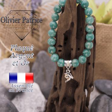 Bracelet amazonite russe charms dauphin plaqué or-argent