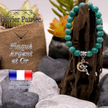 Bracelet amazonite russe charms fée plaqué or-argent