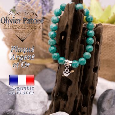 Bracelet amazonite russe charms cœur avec fleche plaqué or-argent