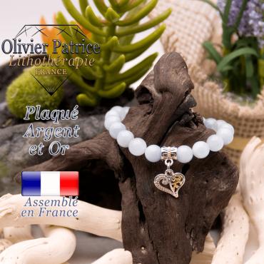 Bracelet aigue marine charms coeur plaqué or-argent