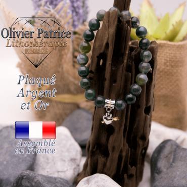 Bracelet agate mousse charms cœur avec fleche plaqué or-argent