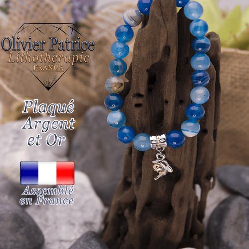 Bracelet agate à bandes bleues charms dauphin plaqué or-argent