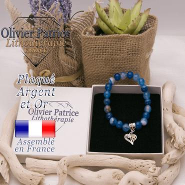 Bracelet agate à bandes bleues charms coeur plaqué or-argent