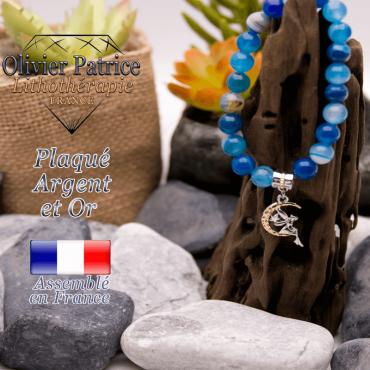 Bracelet agate à bandes bleues charms fée plaqué or-argent
