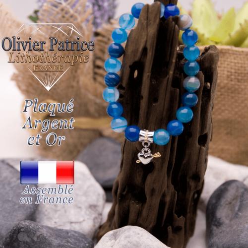 Bracelet agate à bandes bleues charms cœur avec fleche plaqué or-argent