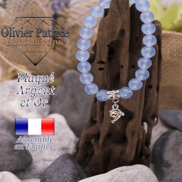 Bracelet agate bleue charms dauphin plaqué or-argent