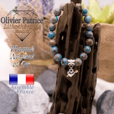 Bracelet agate à dentelle bleue charms cœur avec fleche plaqué or-argent