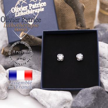 Boucles d'oreilles opales en argent 925
