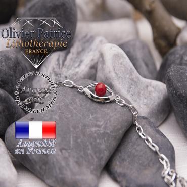 Bracelet corail rouge oeil en argent 925