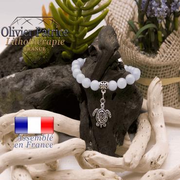 Bracelet aigue marine et son charms tortue en alliage