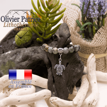 Bracelet turquoise bleue africaine et son charms tortue alliage