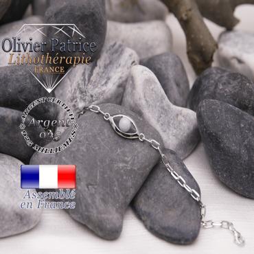 Bracelet aigue marine en forme d'oeil en argent 925
