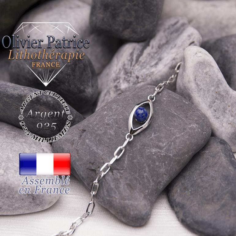 Bracelet lapis lazuli en forme d'oeil en argent 925