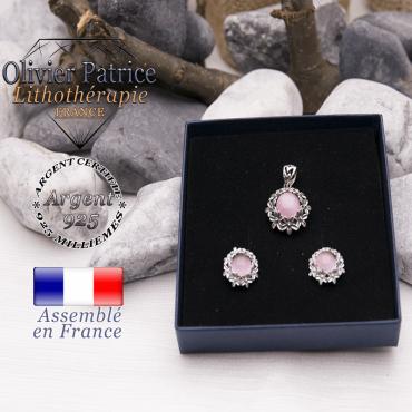 Parure fleurs en quartz rose et argent 925