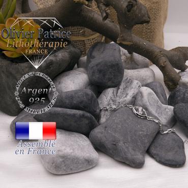 Bracelet cristal de roche en forme d'oeil en argent 925