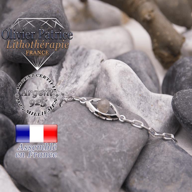 Bracelet labradorite en forme d'oeil en argent 925